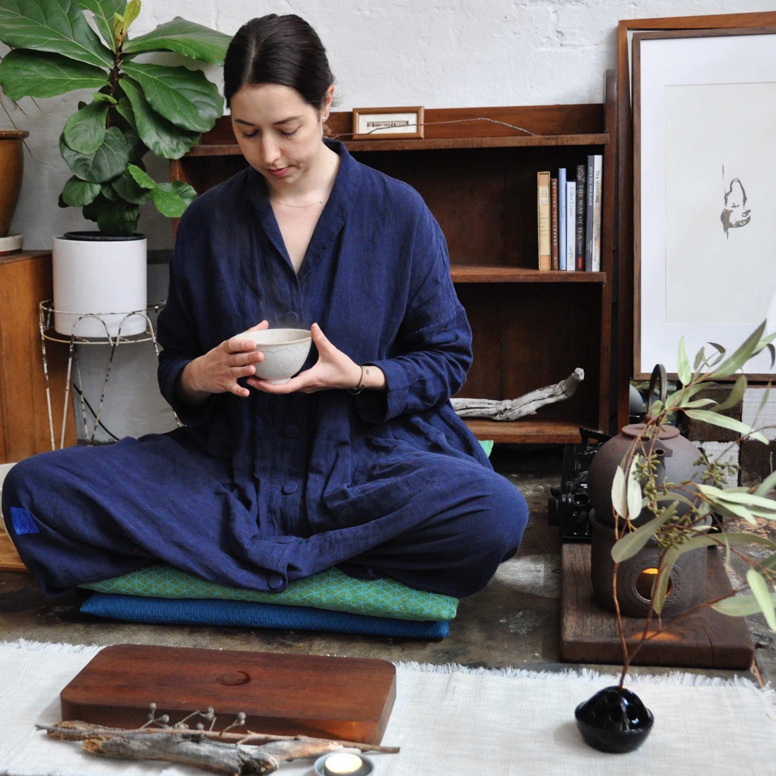 Girl sitting in tea ceremony